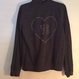 VICTORIAS SECRET gray sweater with gold heart VS